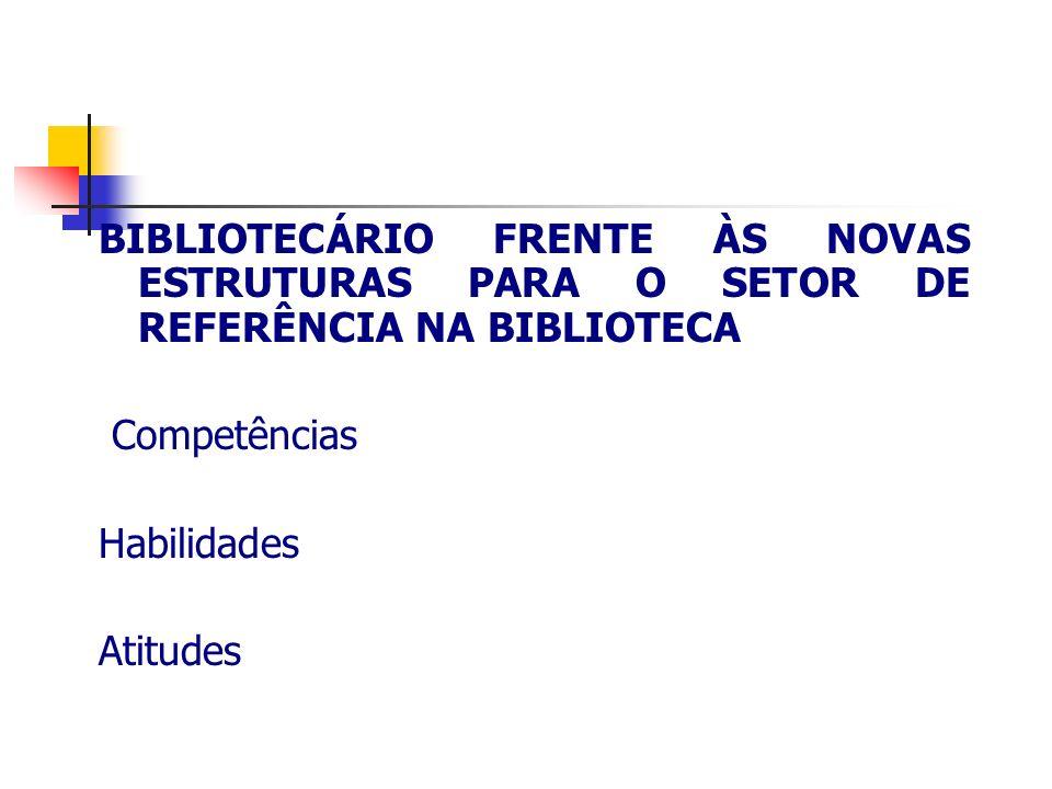 BIBLIOTECÁRIO FRENTE ÀS NOVAS ESTRUTURAS PARA O SETOR DE REFERÊNCIA NA BIBLIOTECA Competências Habilidades Atitudes