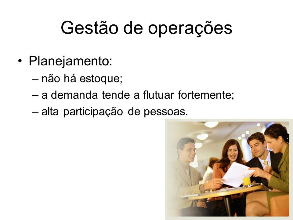 Gestão de operações Planejamento: –não há estoque; –a demanda tende a flutuar fortemente; –alta participação de pessoas.