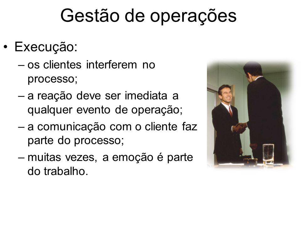 Gestão de operações Execução: –os clientes interferem no processo; –a reação deve ser imediata a qualquer evento de operação; –a comunicação com o cli