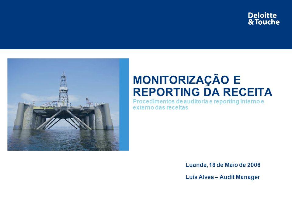 Área de serviço MONITORIZAÇÃO E REPORTING DA RECEITA Procedimentos de auditoria e reporting interno e externo das receitas Luanda, 18 de Maio de 2006 Luís Alves – Audit Manager