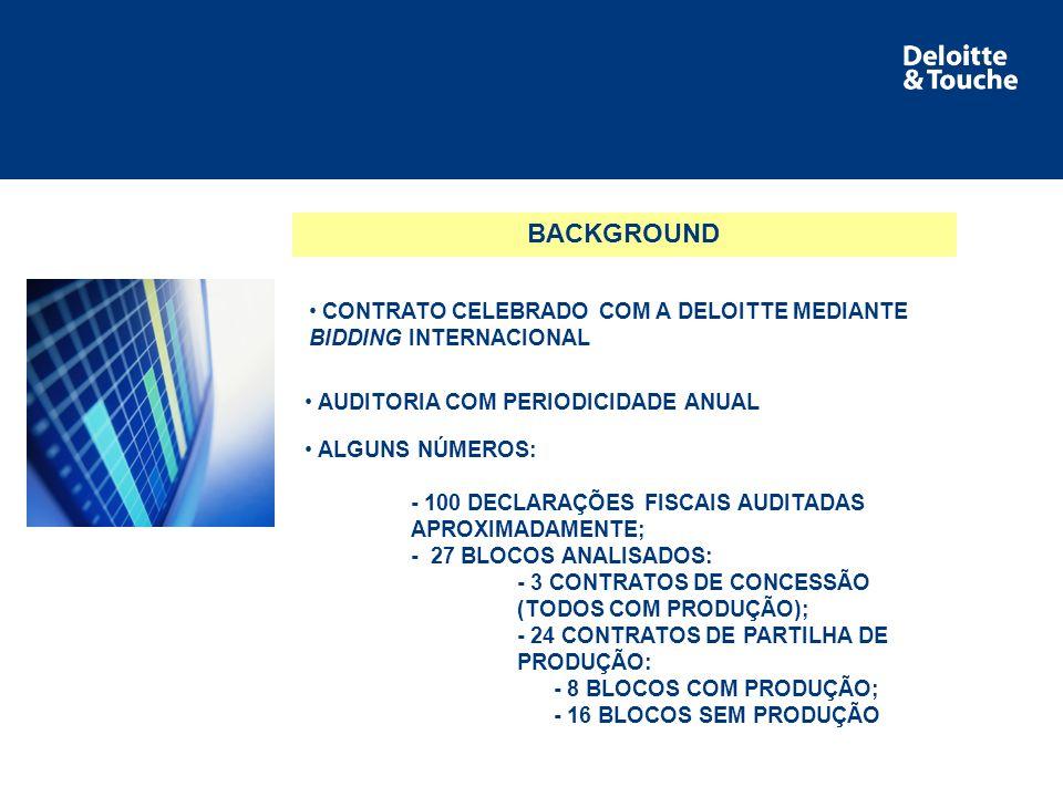 Área de serviço BACKGROUND AUDITORIA COM PERIODICIDADE ANUAL CONTRATO CELEBRADO COM A DELOITTE MEDIANTE BIDDING INTERNACIONAL ALGUNS NÚMEROS: - 100 DECLARAÇÕES FISCAIS AUDITADAS APROXIMADAMENTE; - 27 BLOCOS ANALISADOS: - 3 CONTRATOS DE CONCESSÃO (TODOS COM PRODUÇÃO); - 24 CONTRATOS DE PARTILHA DE PRODUÇÃO: - 8 BLOCOS COM PRODUÇÃO; - 16 BLOCOS SEM PRODUÇÃO