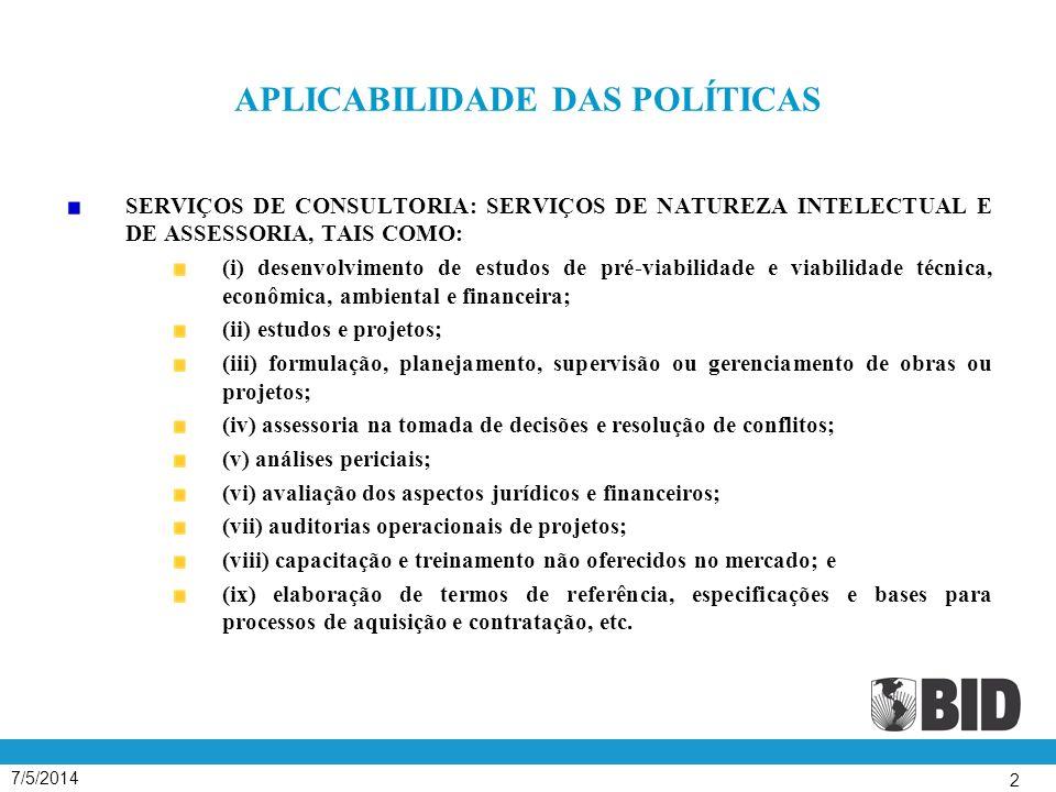 7/5/2014 43 SELEÇÃO BASEADA NA QUALIDADE ( SBQ ) Para trabalhos complexos (estudos setoriais, desenvolvimento institucional, funções de administração, usinas industriais).