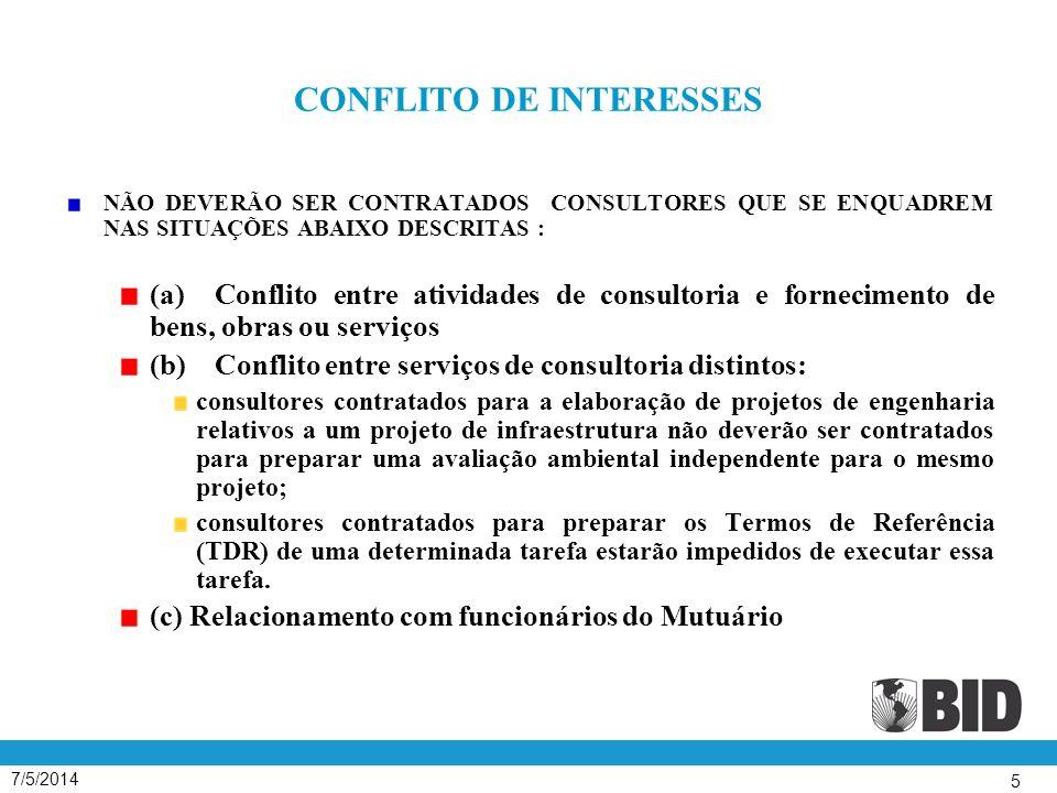7/5/2014 6 O DOCUMENTO DAS POLÍTICAS PARA SELEÇÃO E CONTRATAÇÃO DE CONSULTORES (GN – 2350-7) As Políticas compreendem : 5 Seções I - Introdução II - Seleção Baseada na Qualidade e Custo ( SBQC ) III - Outros Métodos de Seleção IV - Tipos de Contrato e Dispositivos Essenciais V - Seleção de Consultores Individuais 4 Apêndices 1 - Revisão da Seleção de Consultores pelo Banco 2 - Instruções às Empresas de Consultoria ( IAC ) 3 - Orientação aos Consultores 4 – Políticas para Aquisições em Empréstimos ao Setor Privado