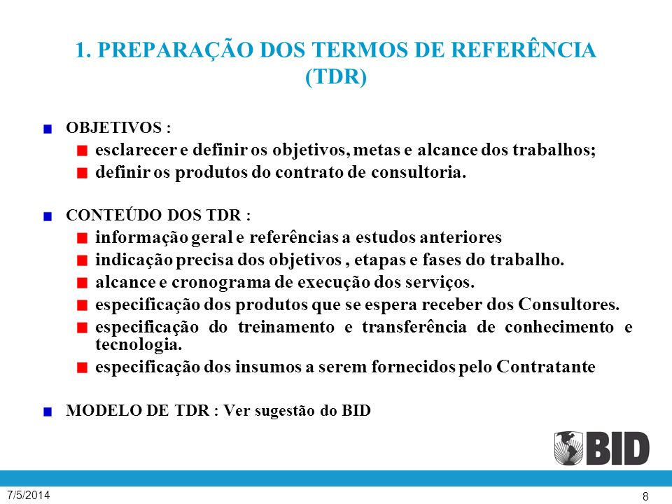 7/5/2014 49 SELEÇÃO BASEADA NAS QUALIFICAÇÕES DO CONSULTOR ( SQC ) Contratos pequenos (determinados em cada caso, mas em nenhum caso ultrapassarão os US$ 200 mil), em que a preparação e avaliação de propostas competitivas não se justificam.