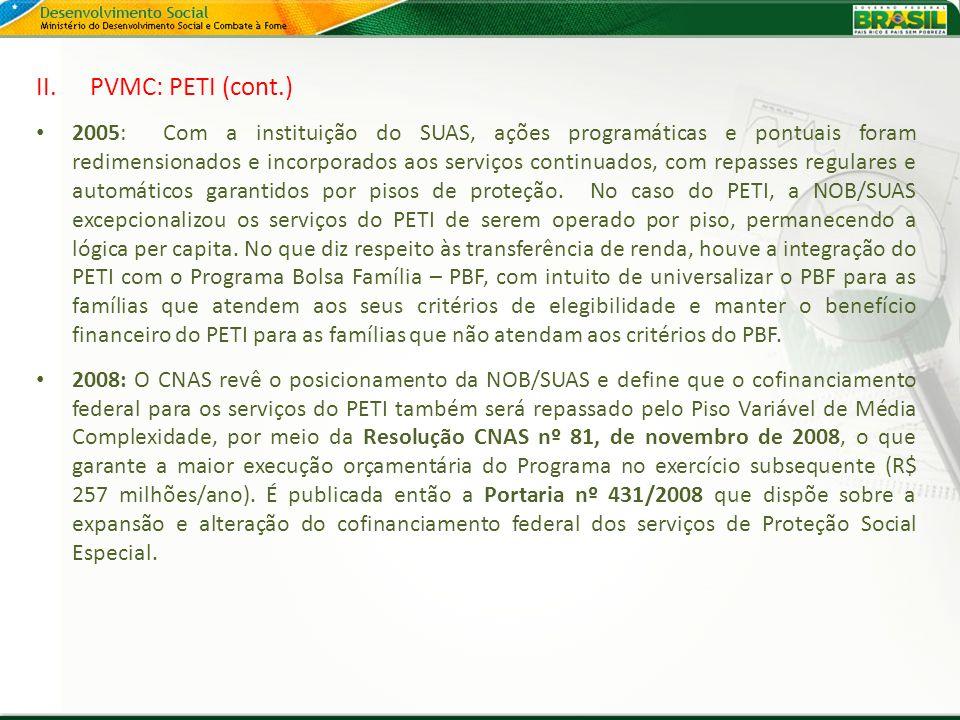 II.PVMC: PETI (cont.) 2005: Com a instituição do SUAS, ações programáticas e pontuais foram redimensionados e incorporados aos serviços continuados, c