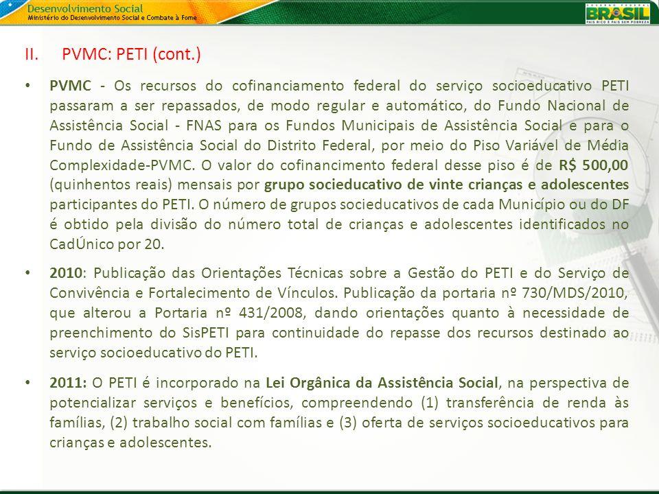 II.PVMC: PETI (cont.) PVMC - Os recursos do cofinanciamento federal do serviço socioeducativo PETI passaram a ser repassados, de modo regular e automá