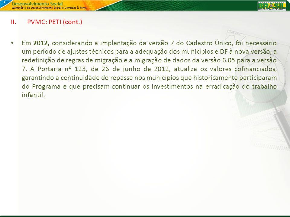 II.PVMC: PETI (cont.) Em 2012, considerando a implantação da versão 7 do Cadastro Único, foi necessário um período de ajustes técnicos para a adequaçã