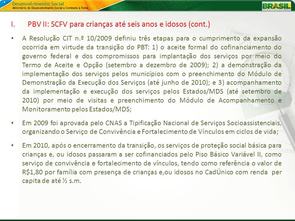 I.PBV II: SCFV para crianças até seis anos e idosos (cont.) A Resolução CIT n.º 10/2009 definiu três etapas para o cumprimento da expansão ocorrida em