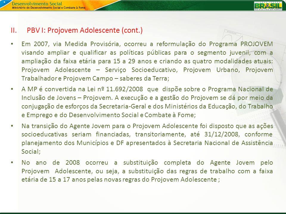 II.PBV I: Projovem Adolescente (cont.) Em 2007, via Medida Provisória, ocorreu a reformulação do Programa PROJOVEM visando ampliar e qualificar as pol