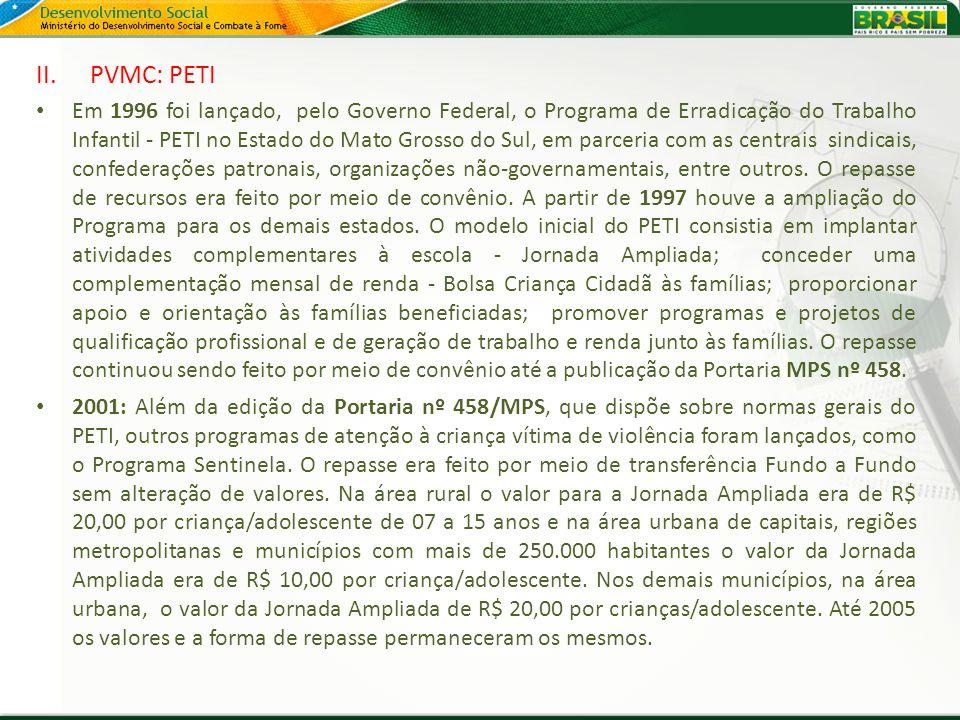 II.PVMC: PETI Em 1996 foi lançado, pelo Governo Federal, o Programa de Erradicação do Trabalho Infantil - PETI no Estado do Mato Grosso do Sul, em par