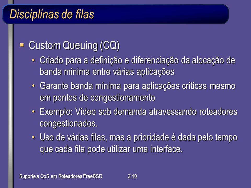Suporte a QoS em Roteadores FreeBSD2.10 Disciplinas de filas Custom Queuing (CQ) Custom Queuing (CQ) Criado para a definição e diferenciação da alocaç