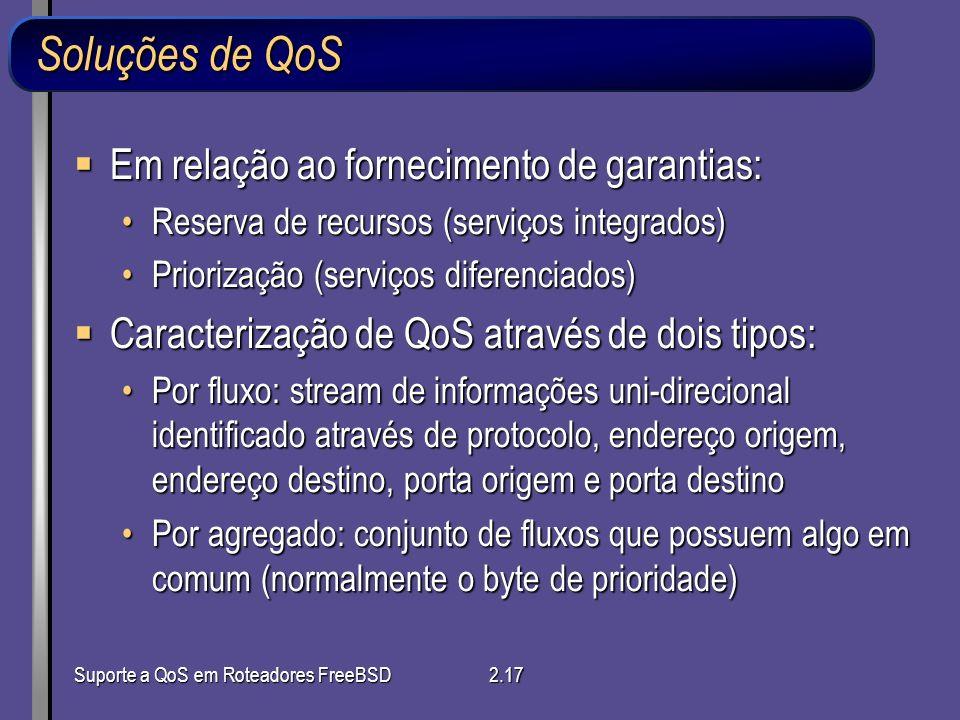 Suporte a QoS em Roteadores FreeBSD2.17 Soluções de QoS Em relação ao fornecimento de garantias: Em relação ao fornecimento de garantias: Reserva de r