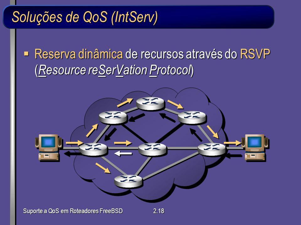 Suporte a QoS em Roteadores FreeBSD2.18 Reserva dinâmica de recursos através do RSVP ( Resource reSerVation Protocol ) Reserva dinâmica de recursos at