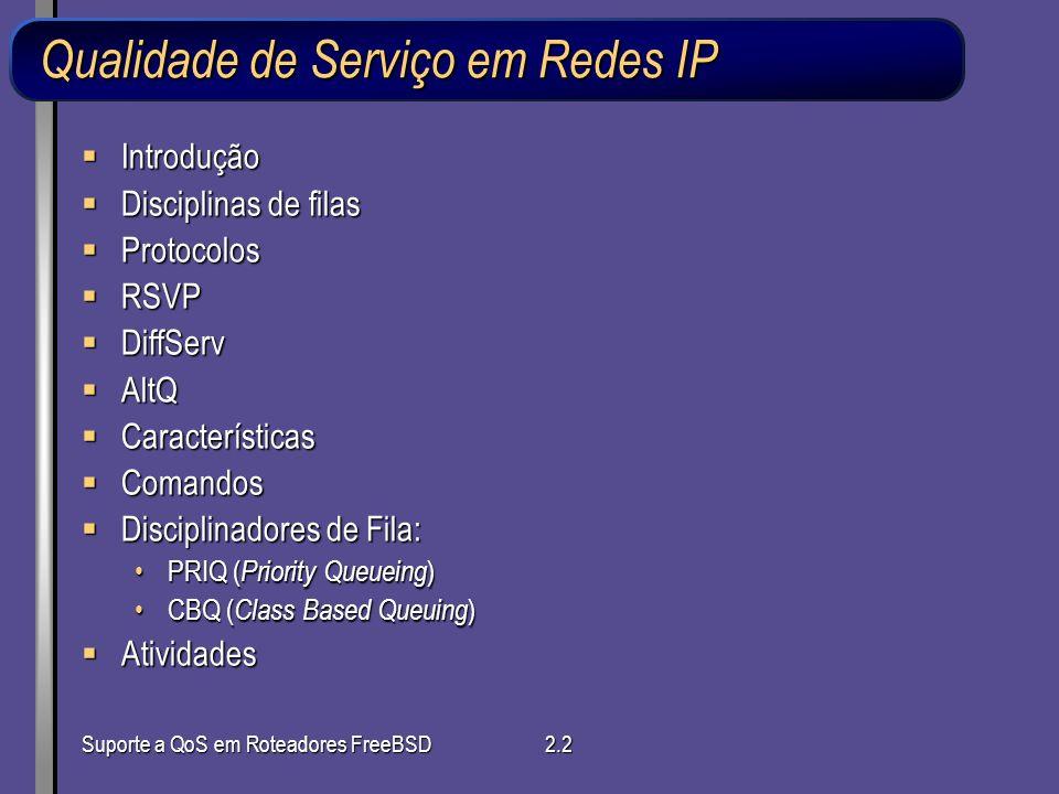 Suporte a QoS em Roteadores FreeBSD2.2 Qualidade de Serviço em Redes IP Introdução Introdução Disciplinas de filas Disciplinas de filas Protocolos Pro