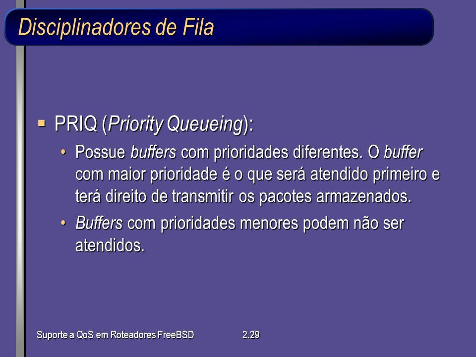 Suporte a QoS em Roteadores FreeBSD2.29 Disciplinadores de Fila PRIQ ( Priority Queueing ): PRIQ ( Priority Queueing ): Possue buffers com prioridades