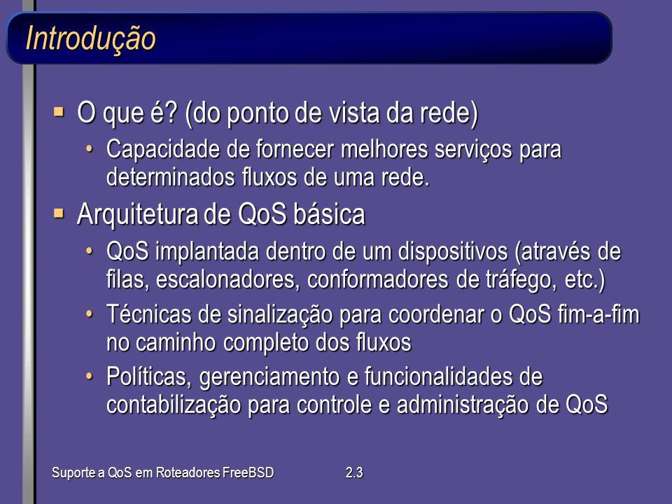 Suporte a QoS em Roteadores FreeBSD2.3 Introdução O que é? (do ponto de vista da rede) O que é? (do ponto de vista da rede) Capacidade de fornecer mel