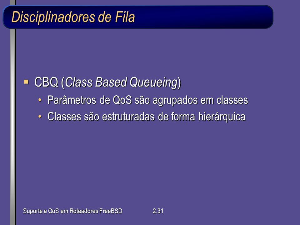 Suporte a QoS em Roteadores FreeBSD2.31 Disciplinadores de Fila CBQ ( Class Based Queueing ) CBQ ( Class Based Queueing ) Parâmetros de QoS são agrupa