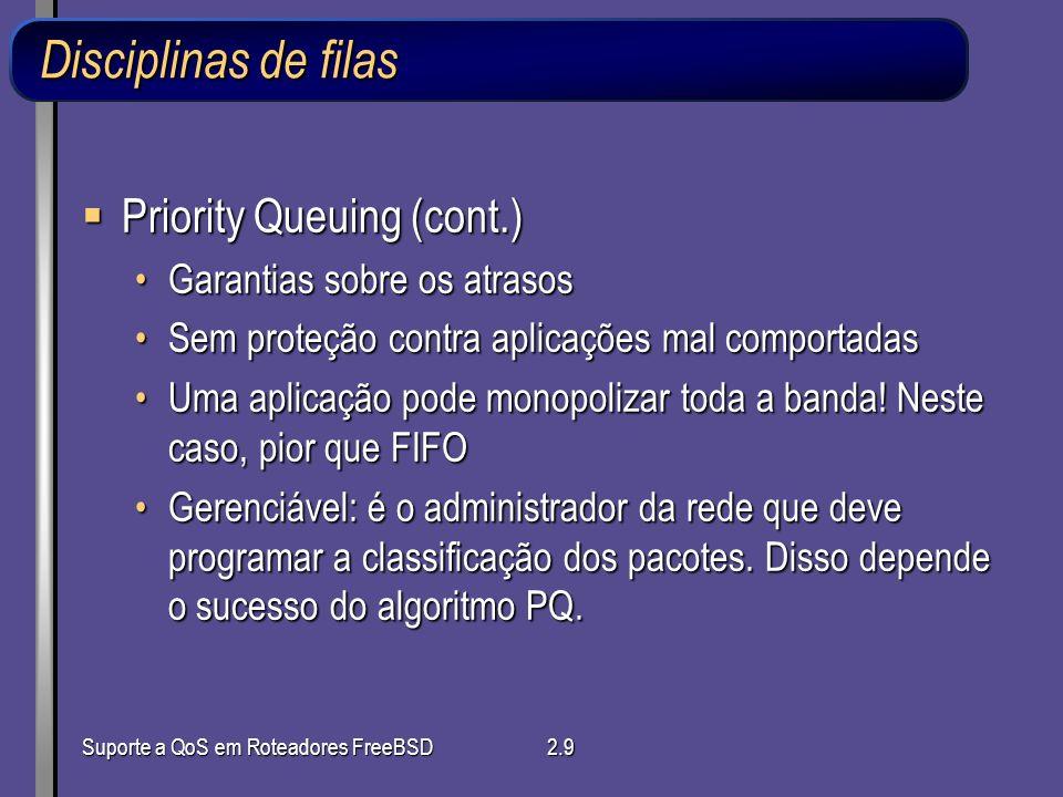 Suporte a QoS em Roteadores FreeBSD2.9 Disciplinas de filas Priority Queuing (cont.) Priority Queuing (cont.) Garantias sobre os atrasosGarantias sobr