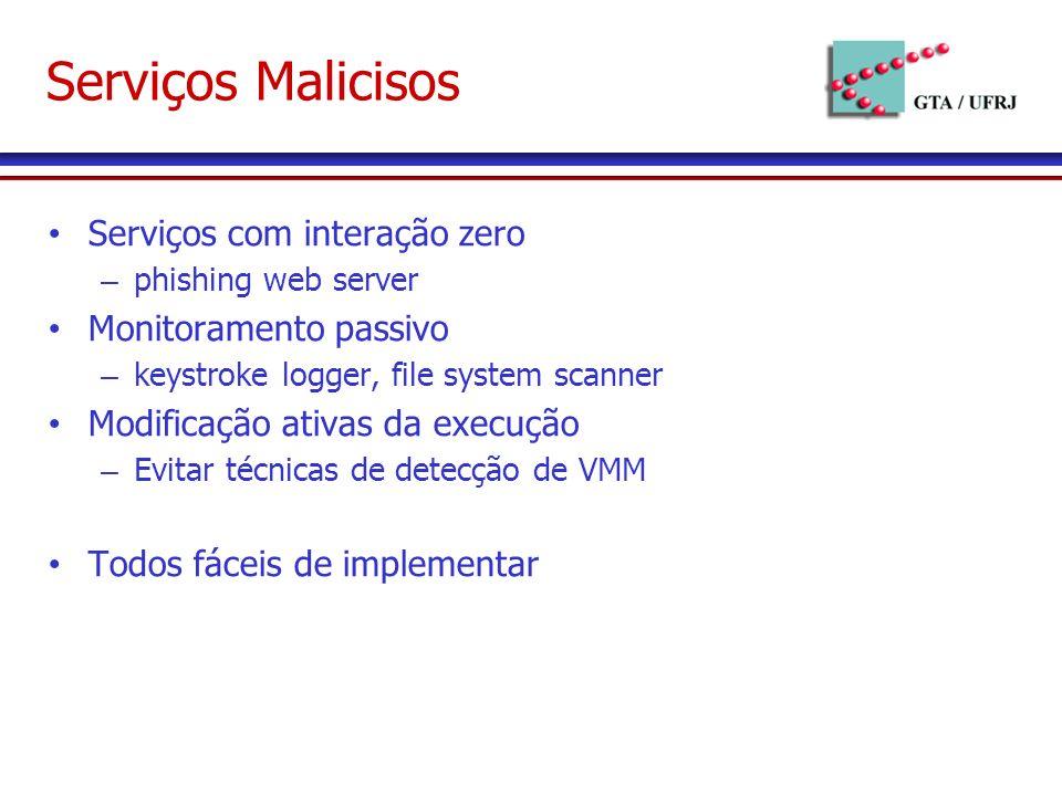 Serviços Malicisos Serviços com interação zero – phishing web server Monitoramento passivo – keystroke logger, file system scanner Modificação ativas da execução – Evitar técnicas de detecção de VMM Todos fáceis de implementar