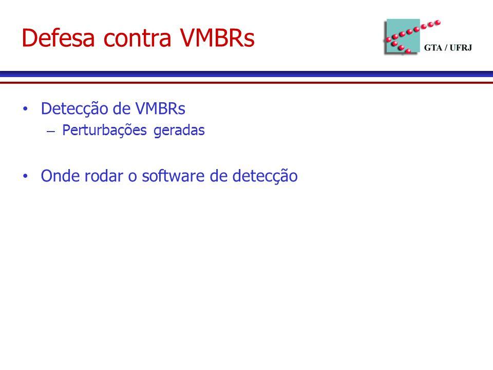 Defesa contra VMBRs Detecção de VMBRs – Perturbações geradas Onde rodar o software de detecção