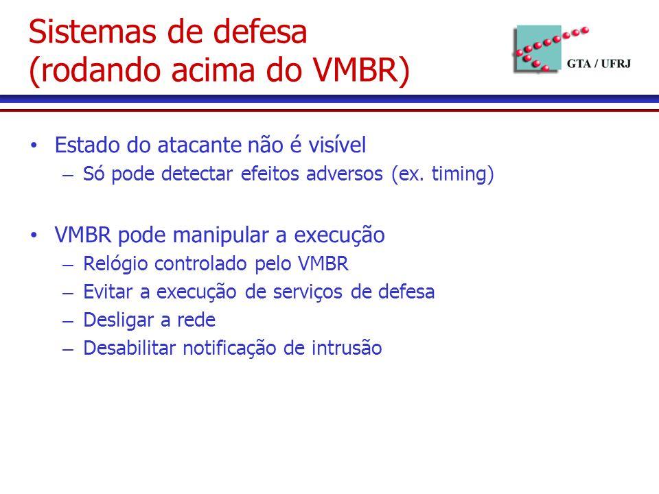 Sistemas de defesa (rodando acima do VMBR) Estado do atacante não é visível – Só pode detectar efeitos adversos (ex.