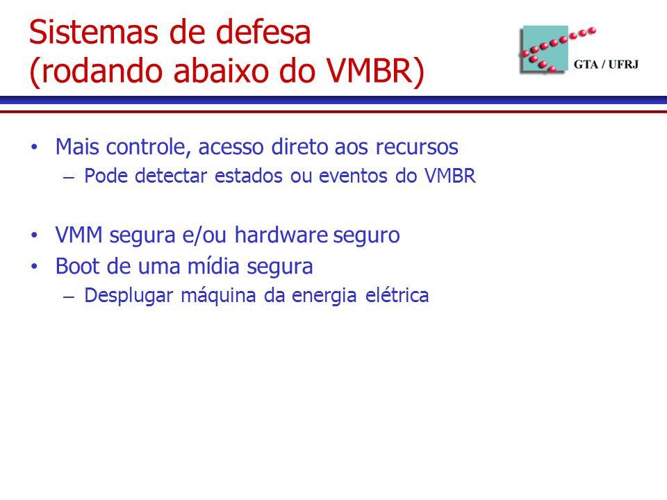 Mais controle, acesso direto aos recursos – Pode detectar estados ou eventos do VMBR VMM segura e/ou hardware seguro Boot de uma mídia segura – Desplugar máquina da energia elétrica Sistemas de defesa (rodando abaixo do VMBR)