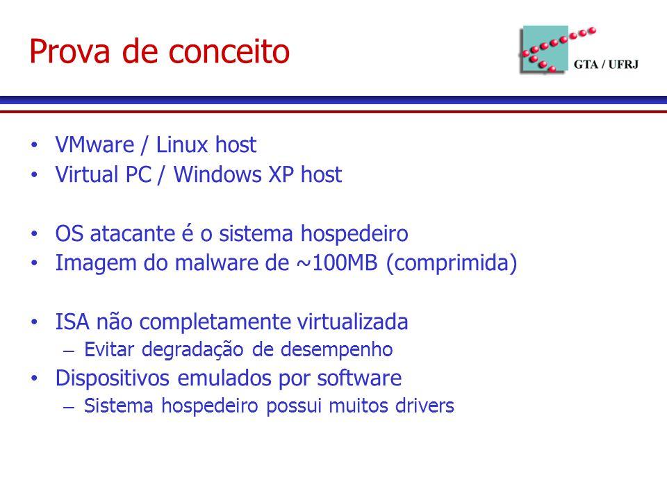 Prova de conceito VMware / Linux host Virtual PC / Windows XP host OS atacante é o sistema hospedeiro Imagem do malware de ~100MB (comprimida) ISA não completamente virtualizada – Evitar degradação de desempenho Dispositivos emulados por software – Sistema hospedeiro possui muitos drivers