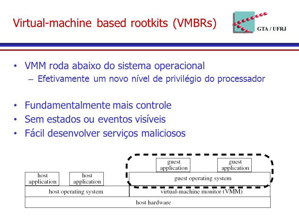 VMM roda abaixo do sistema operacional – Efetivamente um novo nível de privilégio do processador Fundamentalmente mais controle Sem estados ou eventos visíveis Fácil desenvolver serviços maliciosos Virtual-machine based rootkits (VMBRs)