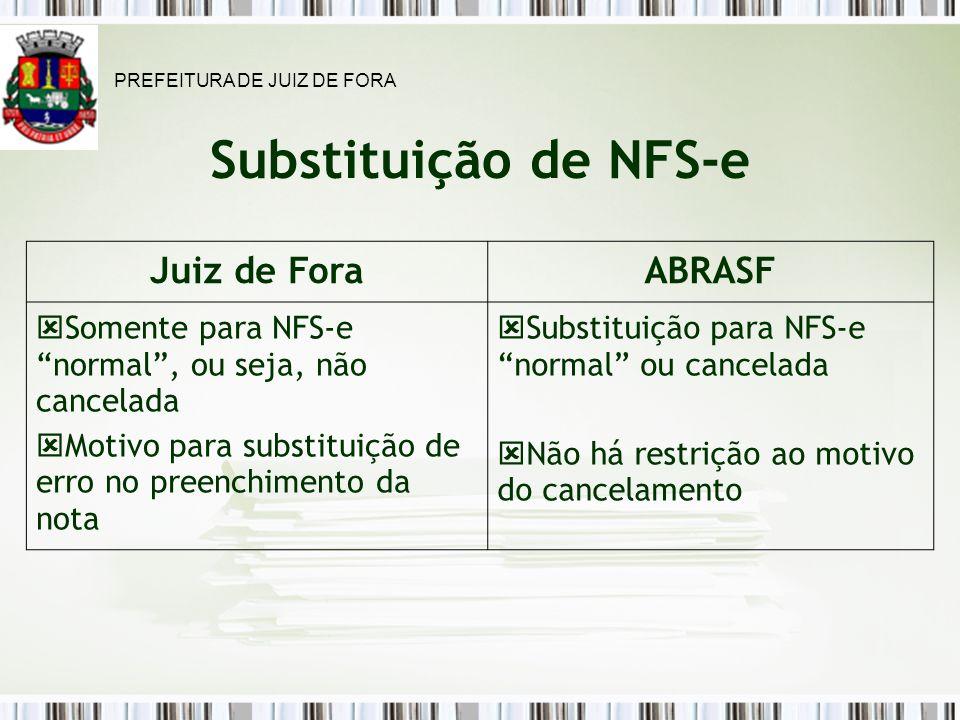 Substituição de NFS-e Juiz de ForaABRASF Somente para NFS-e normal, ou seja, não cancelada Motivo para substituição de erro no preenchimento da nota Substituição para NFS-e normal ou cancelada Não há restrição ao motivo do cancelamento PREFEITURA DE JUIZ DE FORA