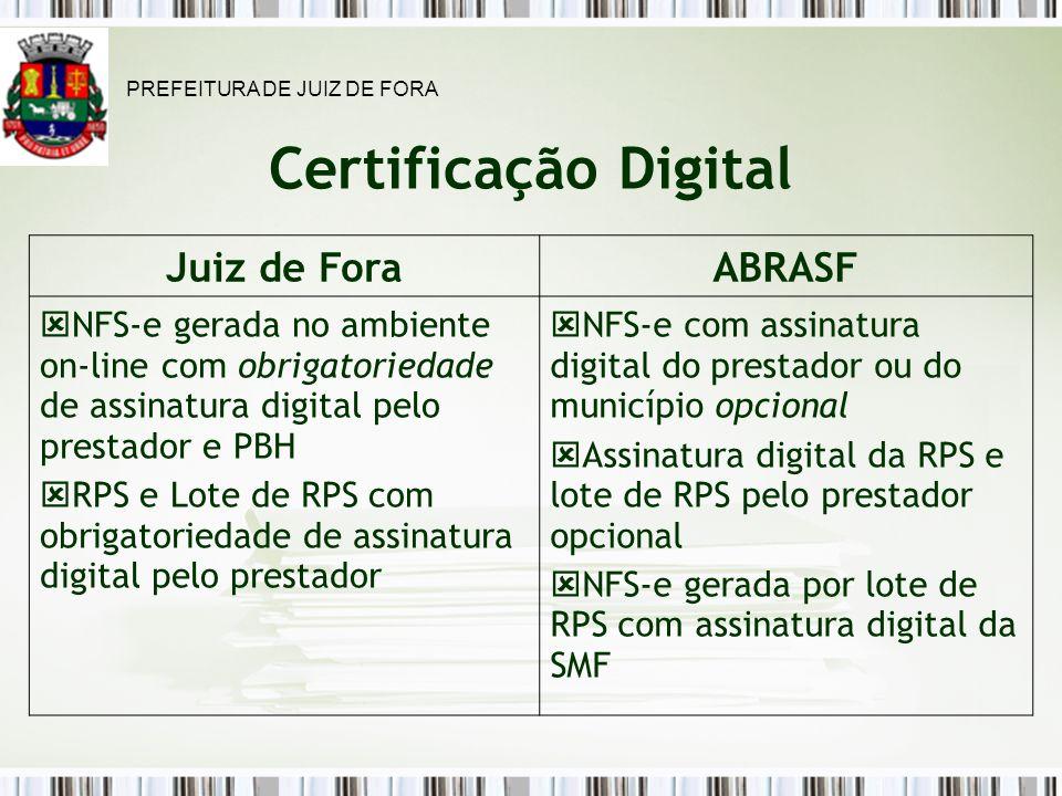 Certificação Digital Juiz de ForaABRASF NFS-e gerada no ambiente on-line com obrigatoriedade de assinatura digital pelo prestador e PBH RPS e Lote de RPS com obrigatoriedade de assinatura digital pelo prestador NFS-e com assinatura digital do prestador ou do município opcional Assinatura digital da RPS e lote de RPS pelo prestador opcional NFS-e gerada por lote de RPS com assinatura digital da SMF PREFEITURA DE JUIZ DE FORA