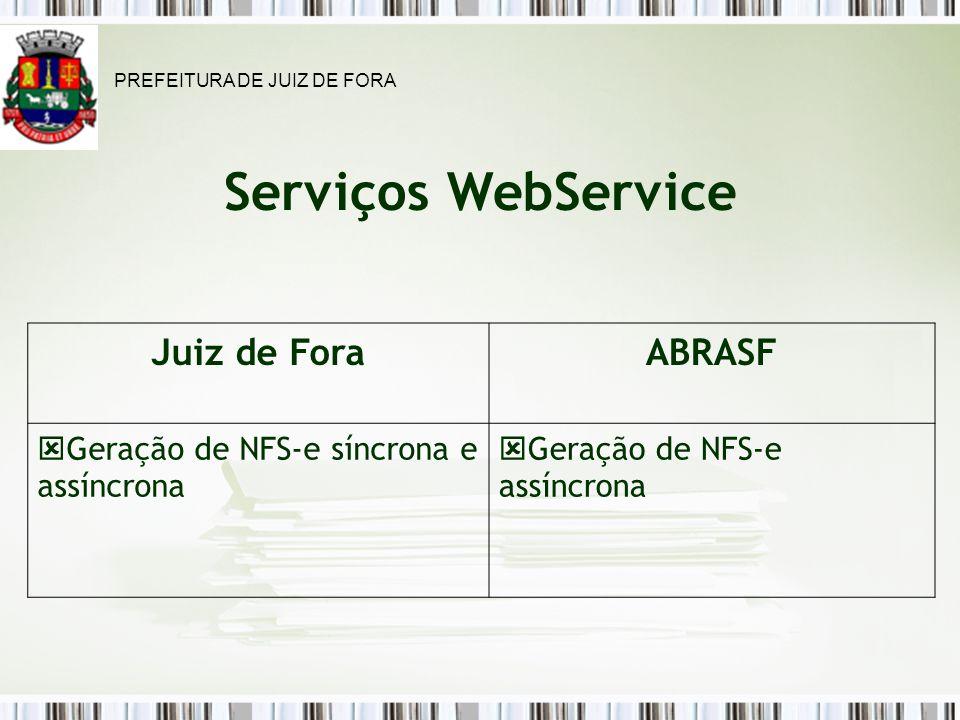 Serviços WebService Juiz de ForaABRASF Geração de NFS-e síncrona e assíncrona Geração de NFS-e assíncrona PREFEITURA DE JUIZ DE FORA