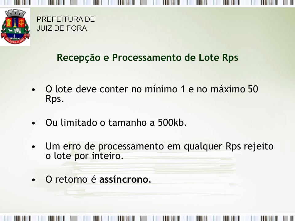 Recepção e Processamento de Lote Rps O lote deve conter no mínimo 1 e no máximo 50 Rps.