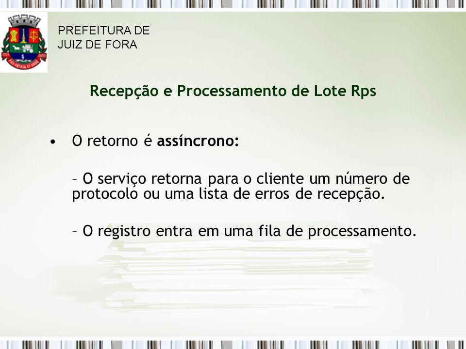 Recepção e Processamento de Lote Rps O retorno é assíncrono: – O serviço retorna para o cliente um número de protocolo ou uma lista de erros de recepção.