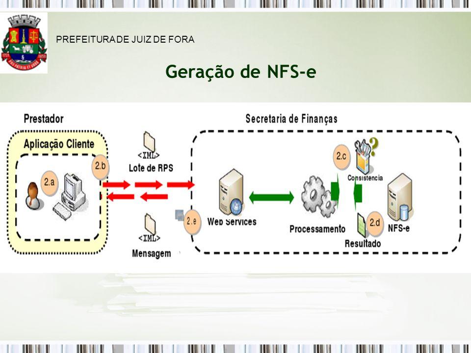 Geração de NFS-e PREFEITURA DE JUIZ DE FORA