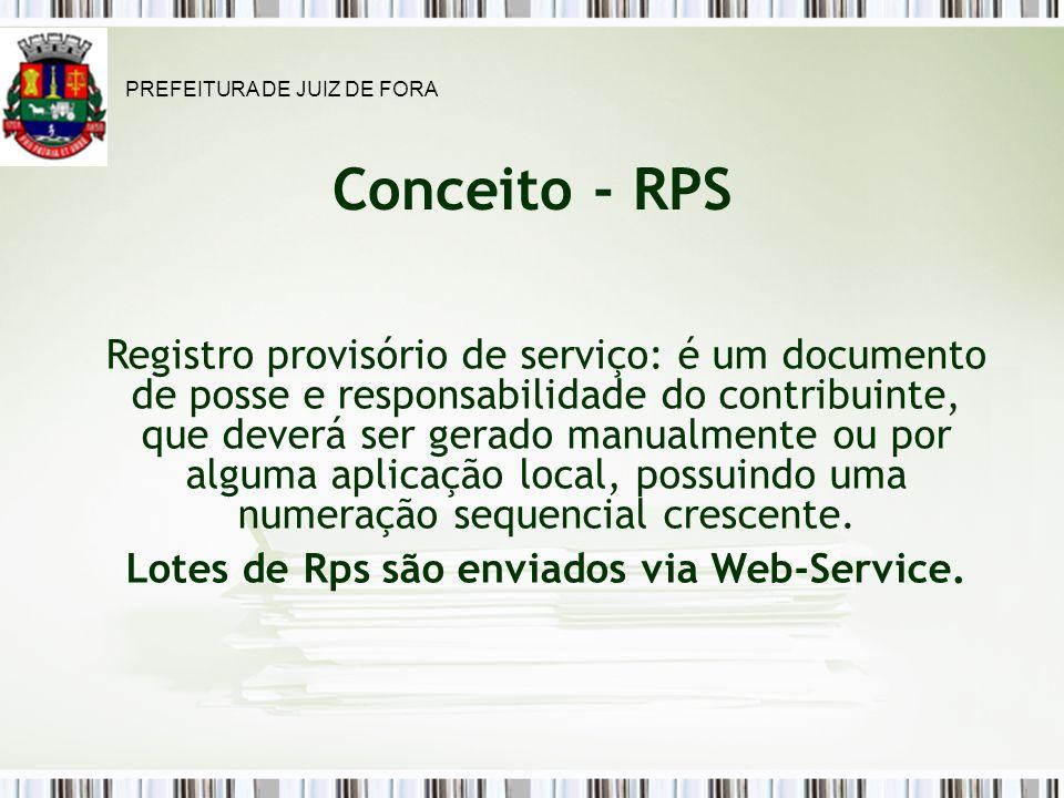 Conceito - RPS Registro provisório de serviço: é um documento de posse e responsabilidade do contribuinte, que deverá ser gerado manualmente ou por alguma aplicação local, possuindo uma numeração sequencial crescente.