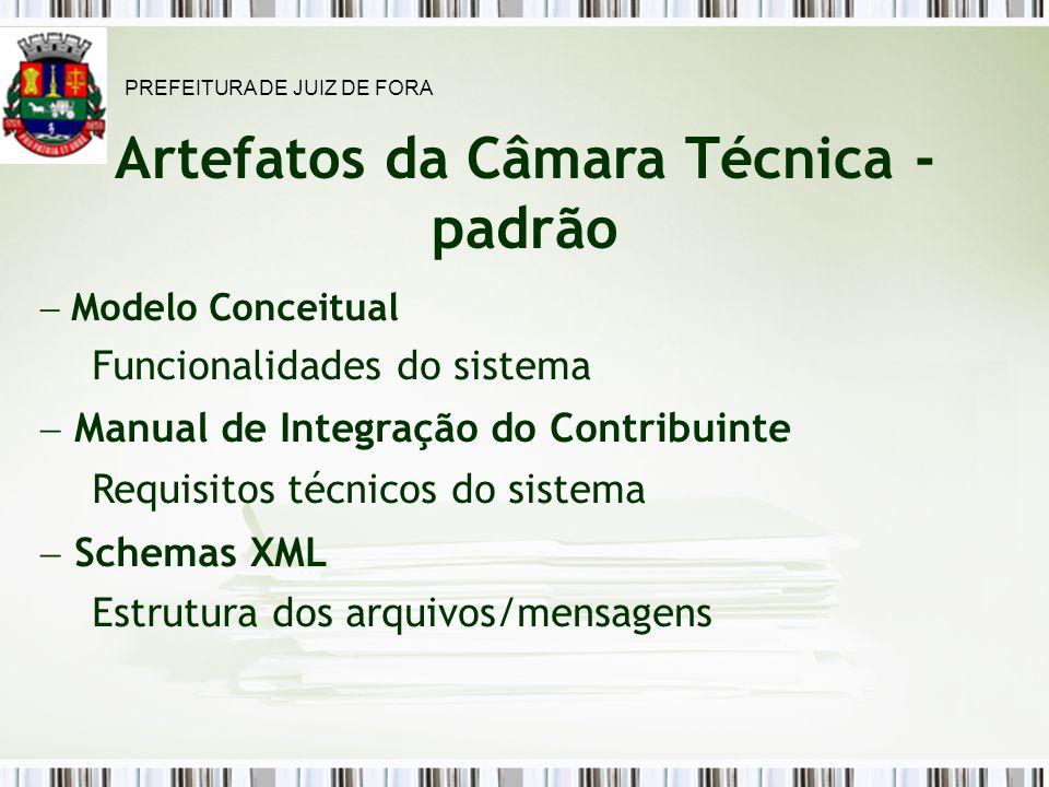 Artefatos da Câmara Técnica - padrão Modelo Conceitual Funcionalidades do sistema Manual de Integração do Contribuinte Requisitos técnicos do sistema Schemas XML Estrutura dos arquivos/mensagens PREFEITURA DE JUIZ DE FORA