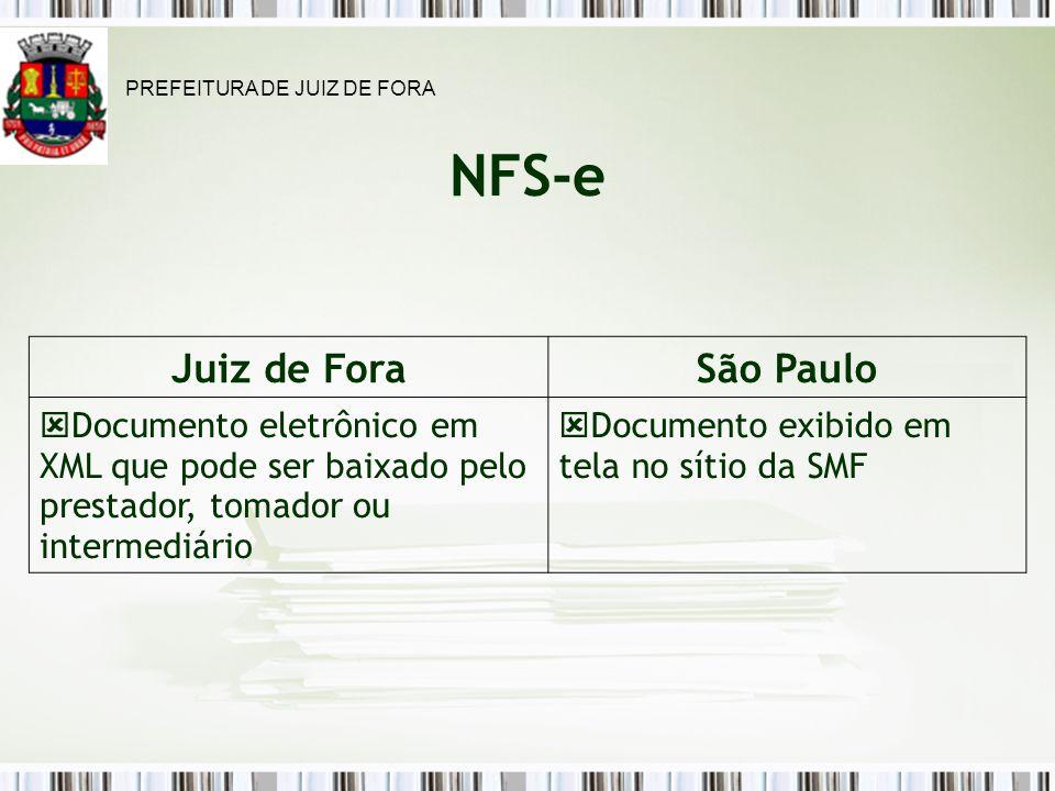 NFS-e Juiz de ForaSão Paulo Documento eletrônico em XML que pode ser baixado pelo prestador, tomador ou intermediário Documento exibido em tela no sítio da SMF PREFEITURA DE JUIZ DE FORA