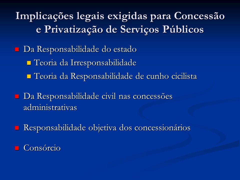 Implicações legais exigidas para Concessão e Privatização de Serviços Públicos Da Responsabilidade do estado Da Responsabilidade do estado Teoria da I