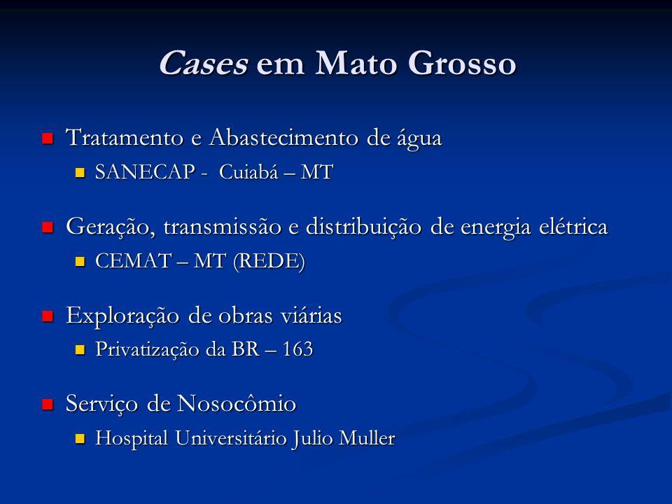Cases em Mato Grosso Tratamento e Abastecimento de água Tratamento e Abastecimento de água SANECAP - Cuiabá – MT SANECAP - Cuiabá – MT Geração, transm