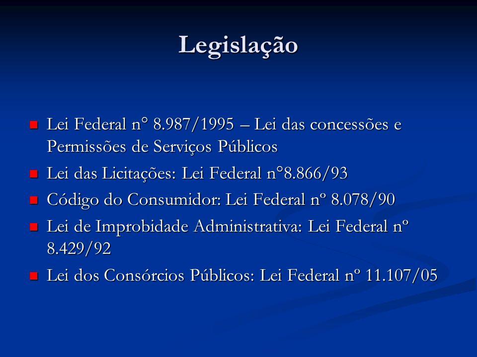 Legislação Lei Federal n° 8.987/1995 – Lei das concessões e Permissões de Serviços Públicos Lei Federal n° 8.987/1995 – Lei das concessões e Permissõe