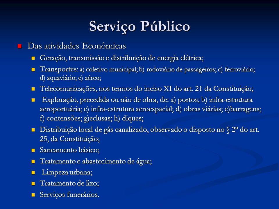 Serviço Público Das atividades Econômicas Das atividades Econômicas Geração, transmissão e distribuição de energia elétrica; Geração, transmissão e di