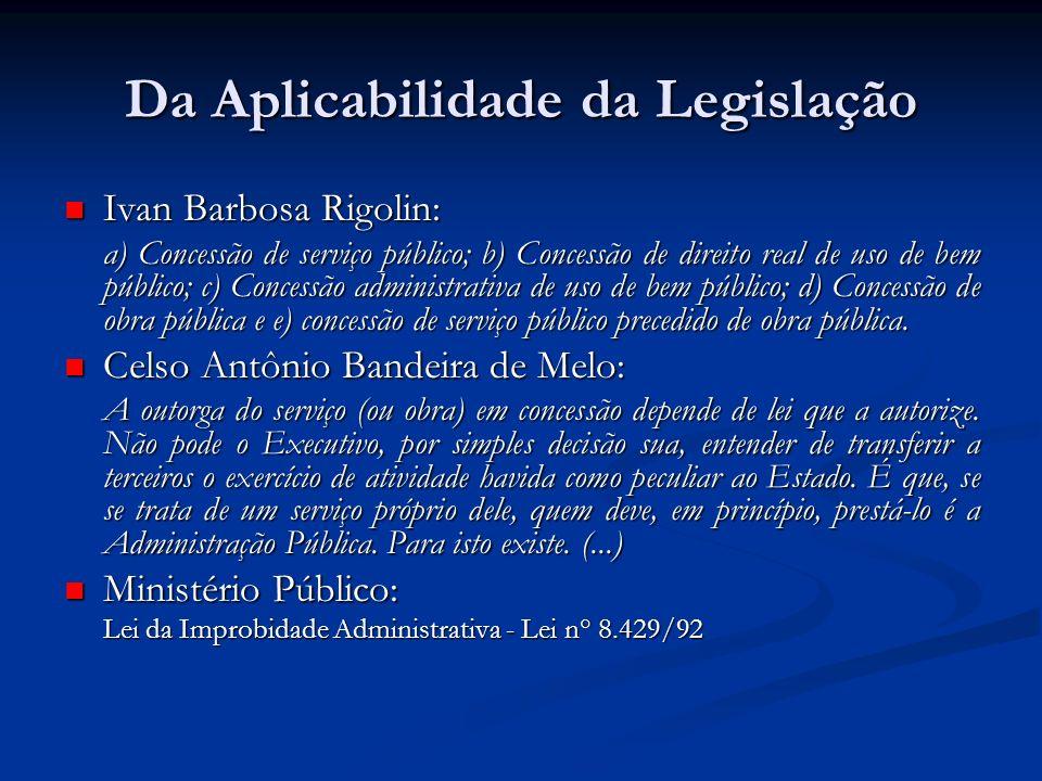 Da Aplicabilidade da Legislação Ivan Barbosa Rigolin: Ivan Barbosa Rigolin: a) Concessão de serviço público; b) Concessão de direito real de uso de be