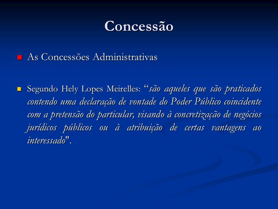 Concessão As Concessões Administrativas As Concessões Administrativas Segundo Hely Lopes Meirelles:são aqueles que são praticados contendo uma declara