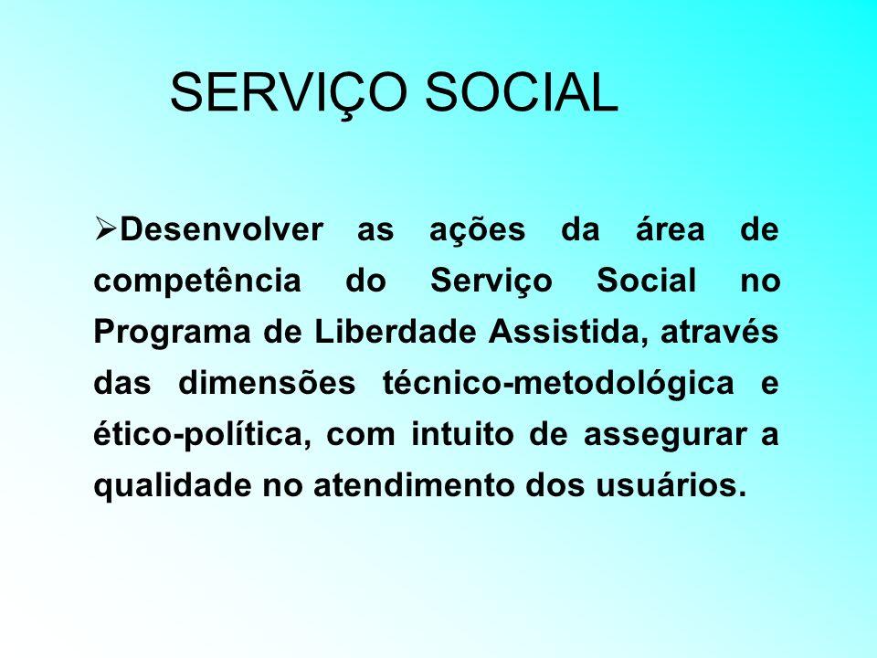 SERVIÇO SOCIAL Desenvolver as ações da área de competência do Serviço Social no Programa de Liberdade Assistida, através das dimensões técnico-metodol