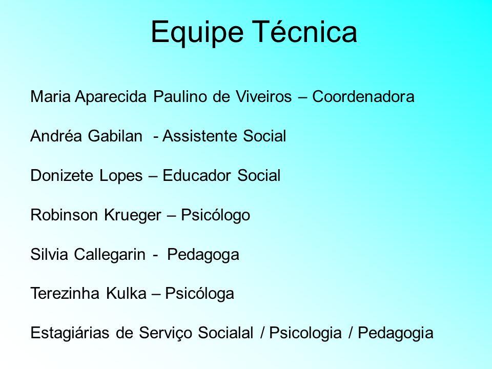 Equipe Técnica Maria Aparecida Paulino de Viveiros – Coordenadora Andréa Gabilan - Assistente Social Donizete Lopes – Educador Social Robinson Krueger