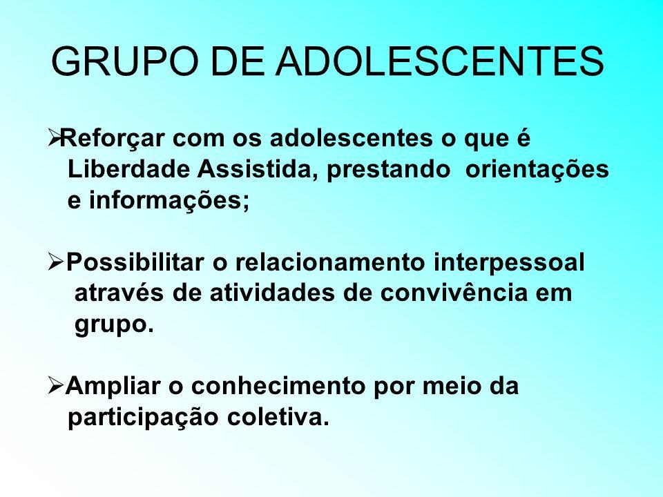 GRUPO DE ADOLESCENTES Reforçar com os adolescentes o que é Liberdade Assistida, prestando orientações e informações; Possibilitar o relacionamento int