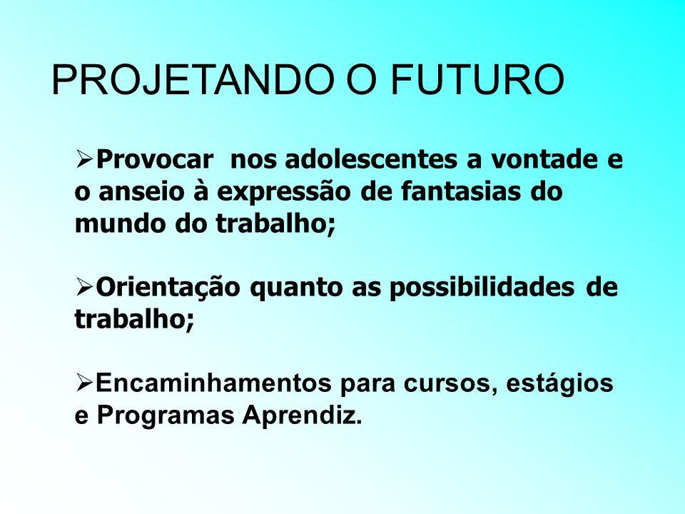 PROJETANDO O FUTURO Provocar nos adolescentes a vontade e o anseio à expressão de fantasias do mundo do trabalho; Orientação quanto as possibilidades