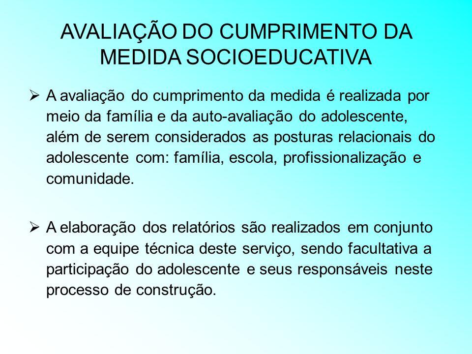 AVALIAÇÃO DO CUMPRIMENTO DA MEDIDA SOCIOEDUCATIVA A avaliação do cumprimento da medida é realizada por meio da família e da auto-avaliação do adolesce