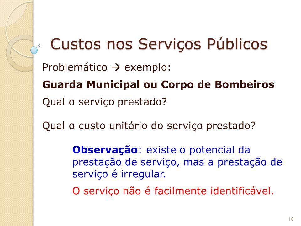 Custos nos Serviços Públicos Problemático exemplo: Guarda Municipal ou Corpo de Bombeiros Qual o serviço prestado? Qual o custo unitário do serviço pr