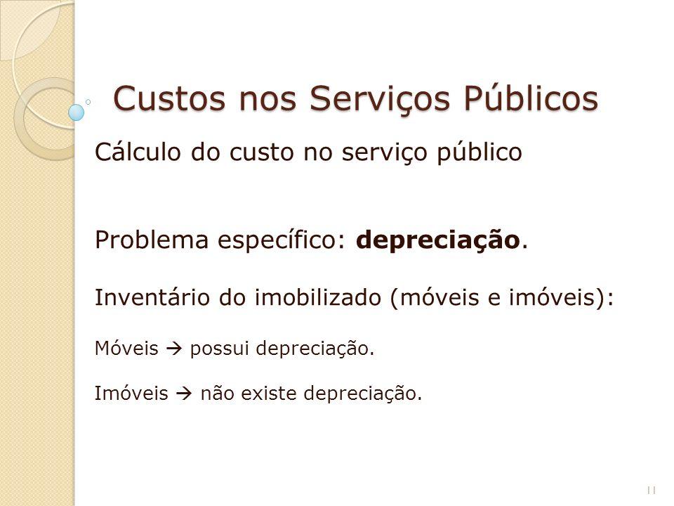Custos nos Serviços Públicos Cálculo do custo no serviço público Problema específico: depreciação. Inventário do imobilizado (móveis e imóveis): Móvei